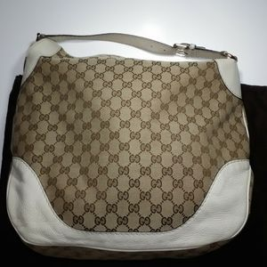 Gucci GG Monogram Canvas Leather Hobo Bag